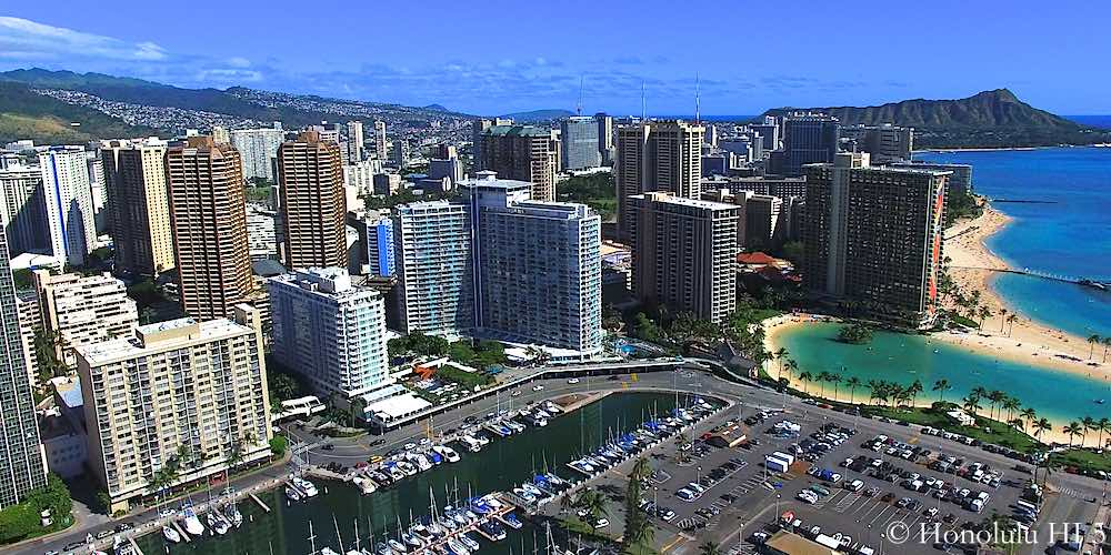 Waikiki Condos and Hotels - Drone Photo
