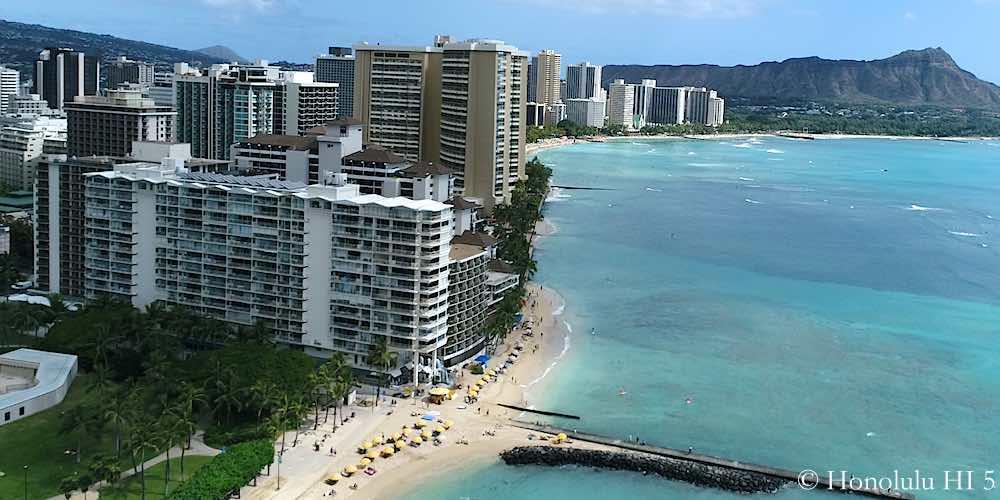 Waikiki Shore Condo Drone Photo