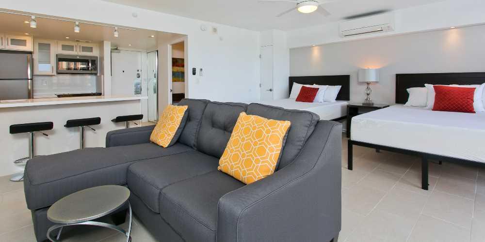 Week 12 - Living room and Queen beds
