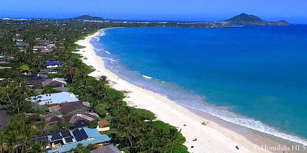 Kailua Beachside Homes and Beach - Drone Photo
