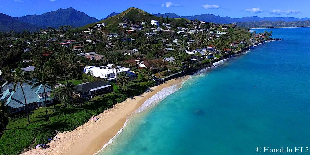 Lanikai Beachfront Homes - Drone Photo