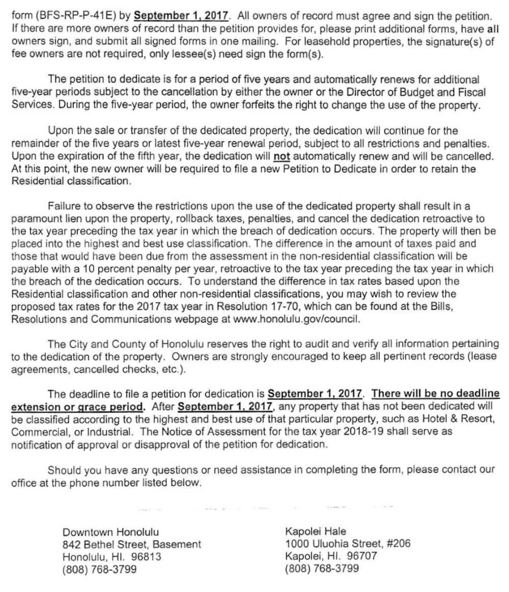 City Letter p2 - Sept 1st filing deadline to dedicate for residential use