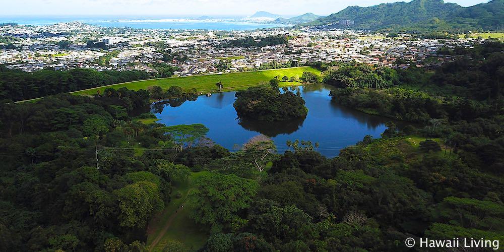 Hoomaluhia Botanical Garden Kaneohe - Aerial Photo