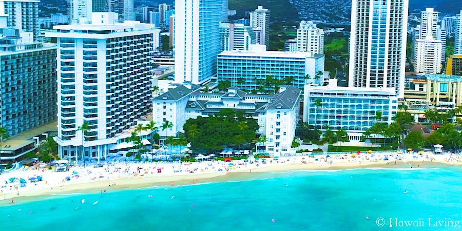 Drone Photo of Moana Surfrider Hotel in Waikiki