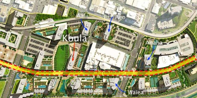 Kolua Condo Highlighted on Ward Village Map Rendering