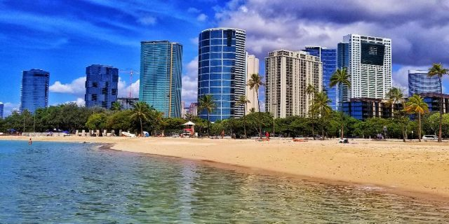 Ala Moana Beach with Kakaako Condos