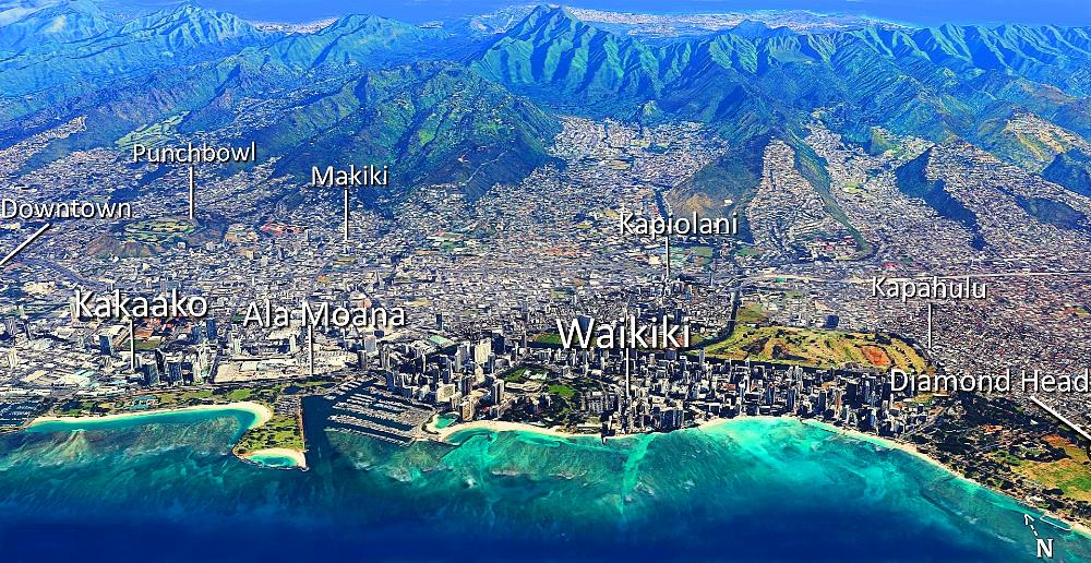 Aerial view: Downtown - Kakaako - Ala Moana - Waikiki - Diamond Head