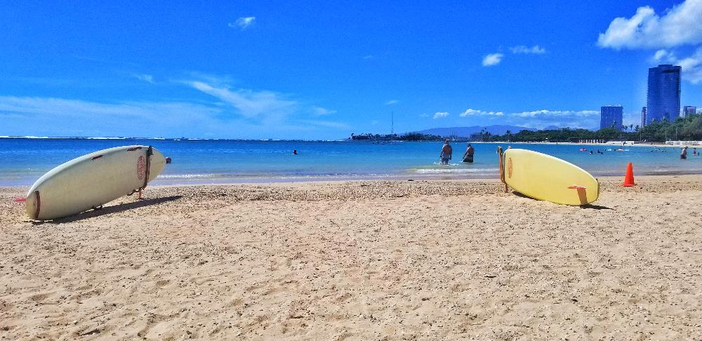 Ala Moana Beach - lifeguard surfboards