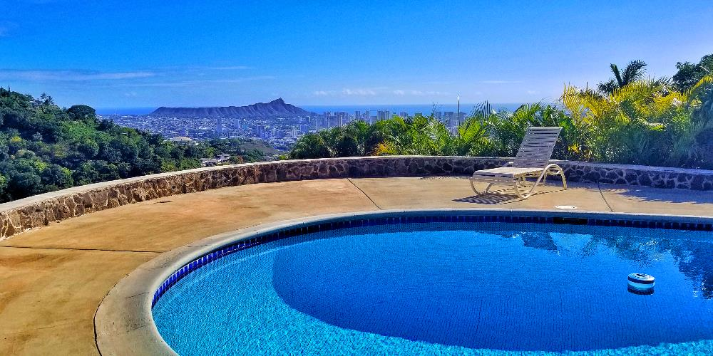 Pool with Diamond Head