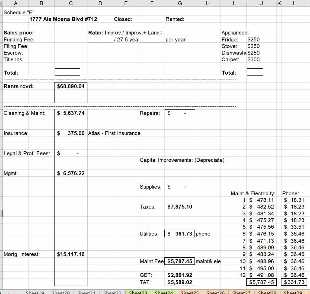9) Sample Schedule E - Excel Tracking Sheeting Sheet
