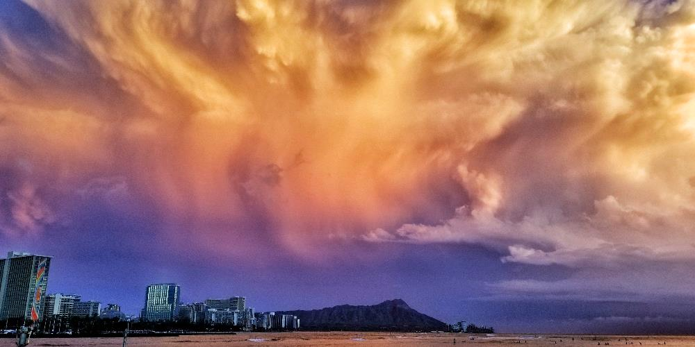 Gnarly Wicked Storm Brewing Over Diamond Head
